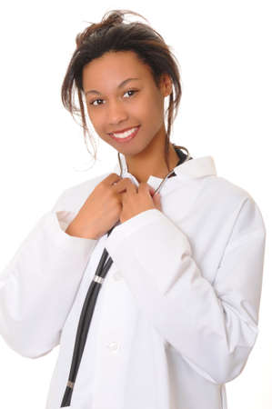 Lovely young and beautiful african american Doctor or Nurse  photo