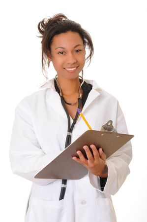 Lovely young and beautiful african american Doctor or Nurse  Stock Photo