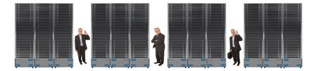Business network of giant servers with businessman between them photo