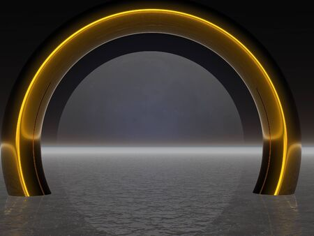 aligned: Golden ring in the sea aligned with the moon Stock Photo