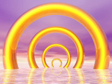 aligned: Golden rings in the sea aligned with each other