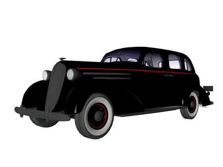 nostalgy: Old 1930s model illustrated 3d sedan automobile