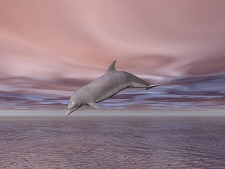 dolphin jumping: Illustrated dolphin jumping out of the sea