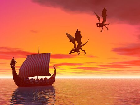 A viking dragon raider ship followed by flying dragons