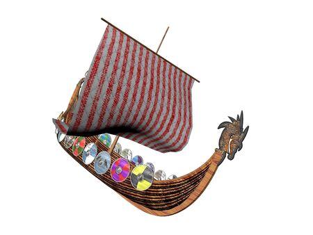 Viking dragon ship raider isolated over white