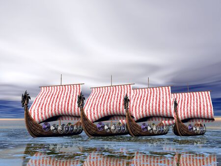 A fleet of viking raider ships on the sea photo