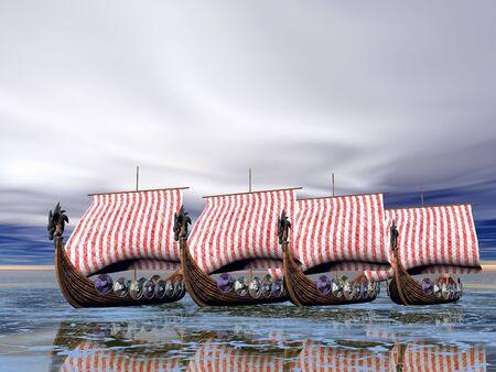viking ship: A fleet of viking raider ships on the sea
