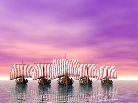A fleet of viking raider ships on the sea Stock Photo - 9123969