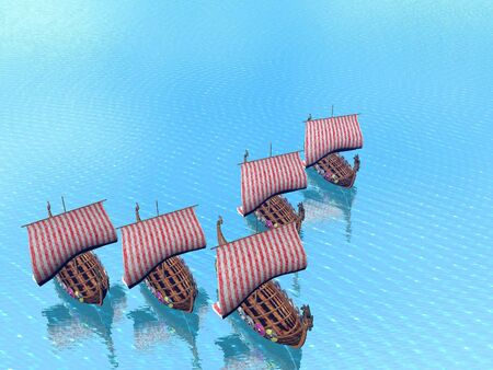 A fleet of viking raider ships on the sea
