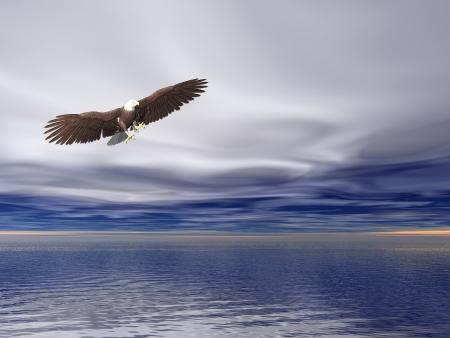 illustrated: Illustrated surreal bald eagle flying over sea