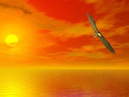Illustrated surreal bald eagle flying over sea