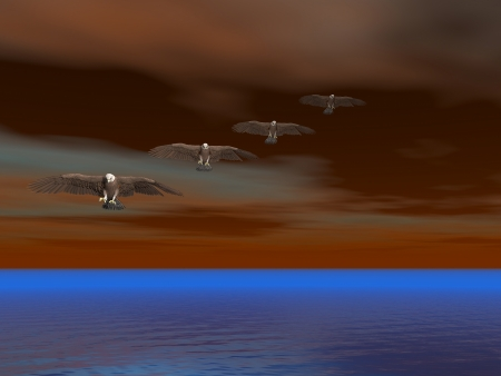 illustrated: Illustrated surreal bald eagles flying over sea