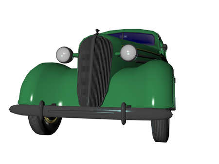 Old 1930s model illustrated 3d sedan automobile