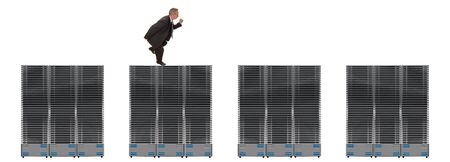 Business network of giant servers with businessman between them