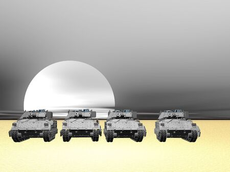 Illustration of Bradley fighting vehicles lined up in the desert Stock Illustration - 9119546