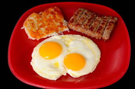 Traditional breakfast of eggs sausage and hash brown potatoes