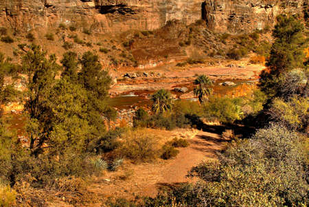 Colorful desert canyon during late afternoon sun with a river flooding Banco de Imagens - 9124282