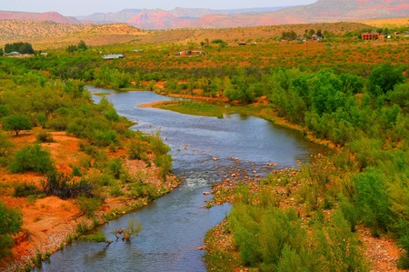verde: Verde river valley and distant mountains