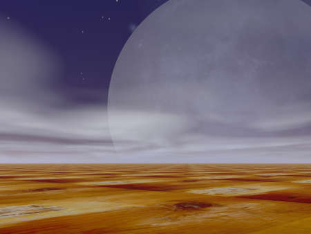 moonrise: Surreal moonrise and stars over a surreal terrain