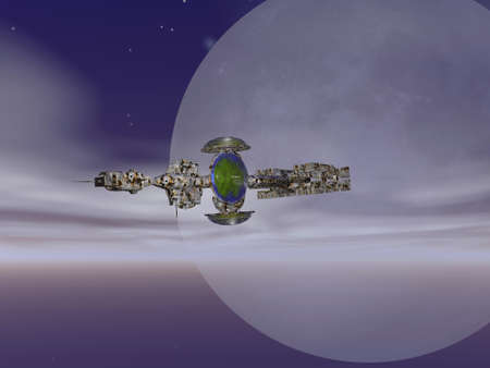 Advanced spaceship flying over an alien planet photo