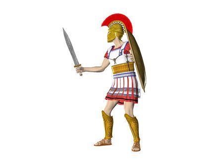 Illustratie van een oude Griekse Spartaanse of Romeinse strijder Stockfoto