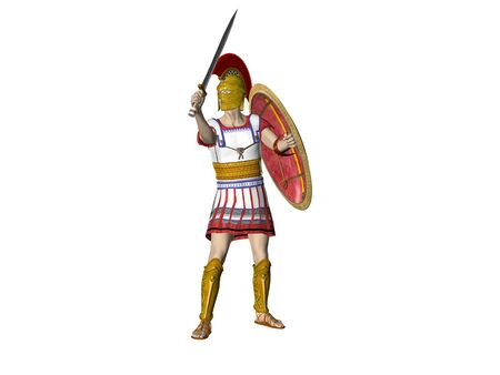 warriors: Illustration of an ancient Spartan Greek or Roman Warrior Stock Photo