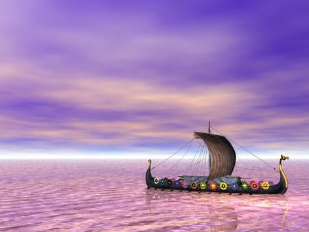 blue dragon: Viking ship, or drakkar, sailing on the sea