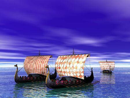 warriors: Viking ship, or drakkar, sailing on the sea