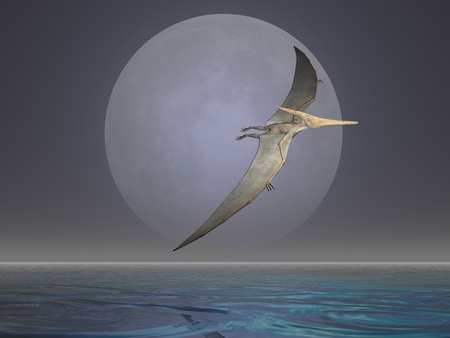 Pterodactyl or Pteranodon flying over the ocean Stock Photo
