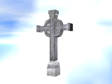 rendered: Rendered stone cross or crucifix celtic version