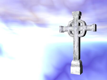 version: Rendered stone cross or crucifix celtic version