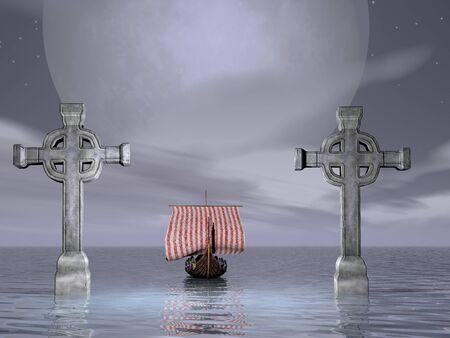 Viking ship sailing between to crosses Stock Photo - 9183881