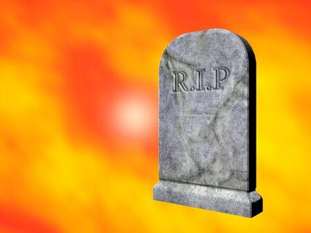 rendered: 3d rendered illustration of a graveyard tombstone