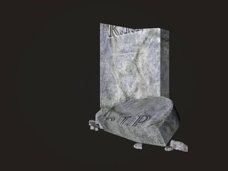 rendered: Rendered illustration of a broken graveyard tombstone