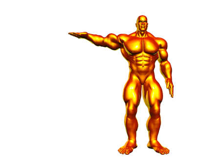 Heavily muscles metallic hercules isolated over white