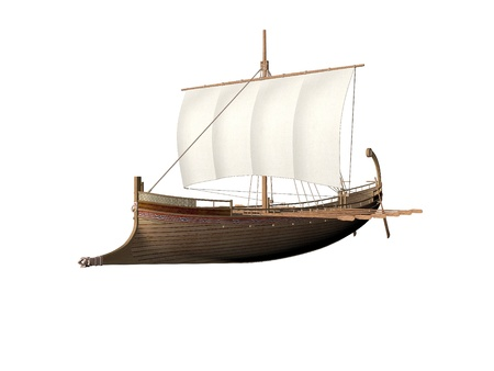 trireme: An Ancient Greek ship isolated over white Stock Photo
