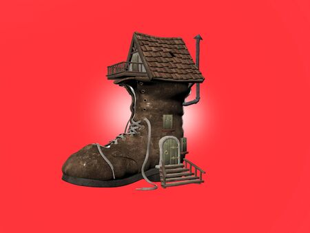 Ilustrated 3d of the fairy tale shoe house