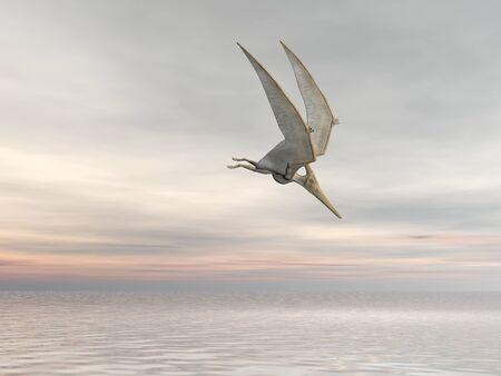 pterodactyl: Pterodactyl or Pteranodon flying over the ocean Stock Photo