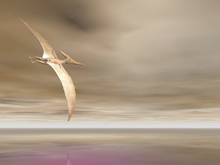 pterodactyl: Pterodactyl or Pteranodon flying over the ocean Stock Photo