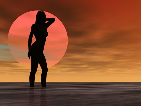 Silhouette Illustration of a nude girl in the ocean