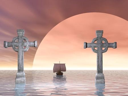 レンダリングされた石造りの十字または十字架ケルト バージョンとバイキング船