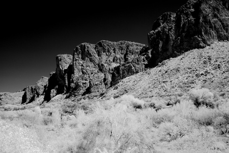 Monochrome desert mountain during late afternoon