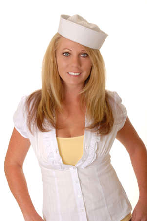 Isol?elle et sexy jeune fille blonde portant une casquette de marin Banque d'images - 9216877