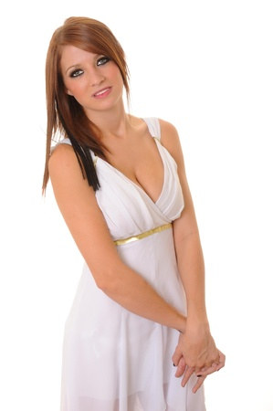 diosa griega: Niña Morena vestida como una diosa griega