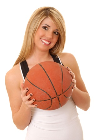 lovely isolated blond girl with a basketball photo