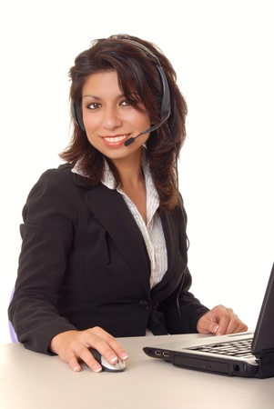 telephonist: Lovely latina business woman hard at work