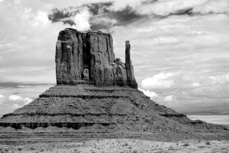 Stormy weather over Monument Valley in black and white photo