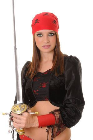 A lovely pirate girl with a sword photo