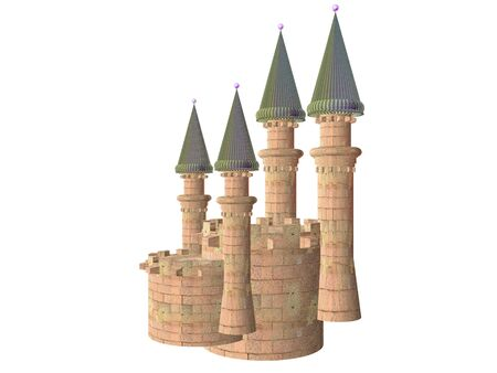 3D illustration of a castle battlement isolated over whilte Stockfoto - 9287390