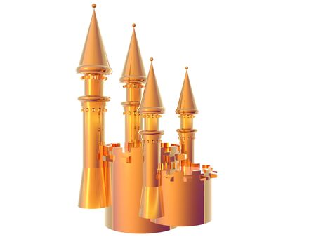 gold age: 3D illustration of a gold castle battlement isolated over whilte